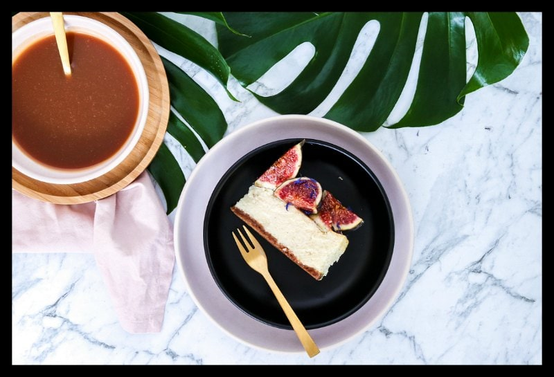 Fig, White Chocolate and Caramel Baked Cheesecake