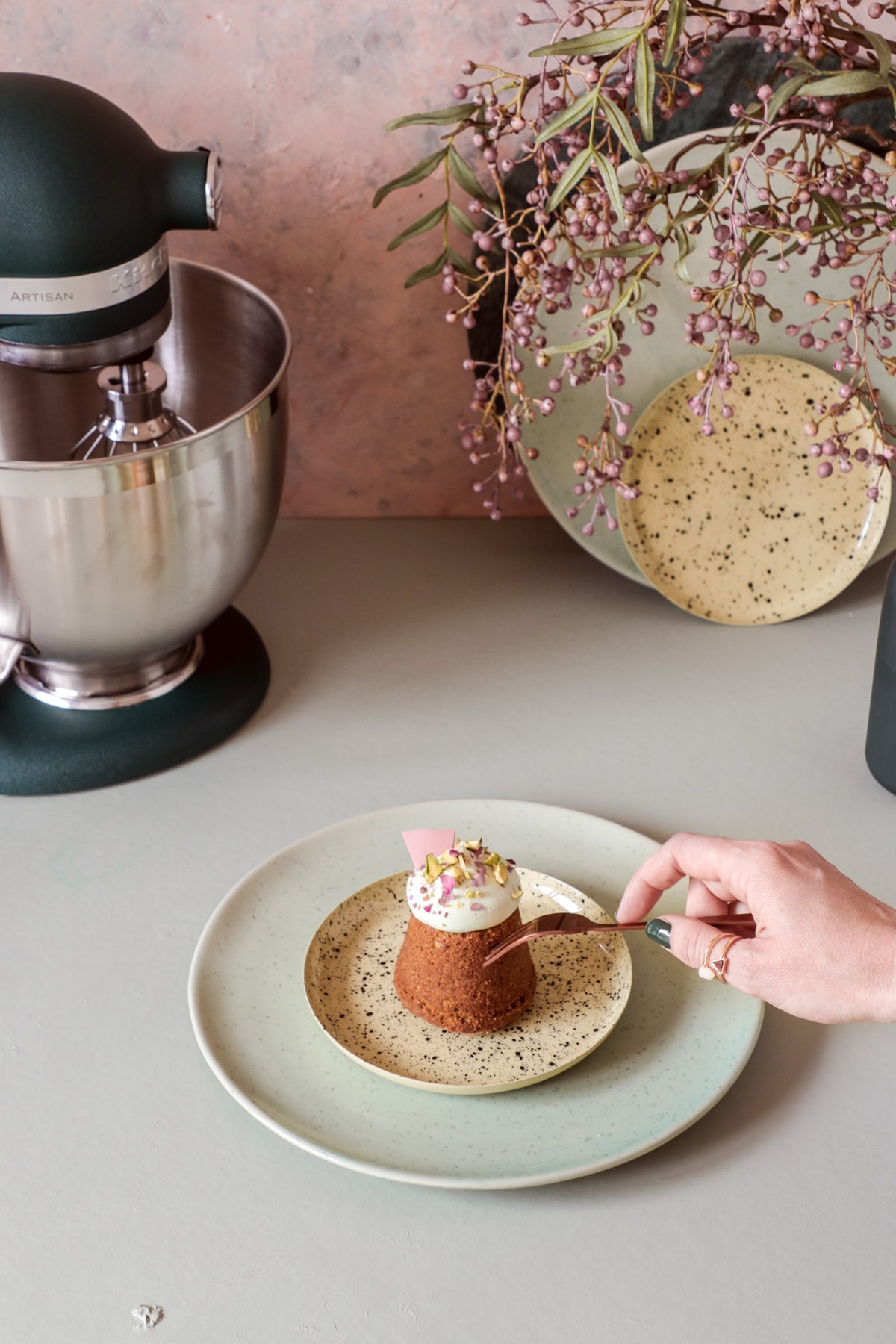 Pistachio muffins with whipped ganache