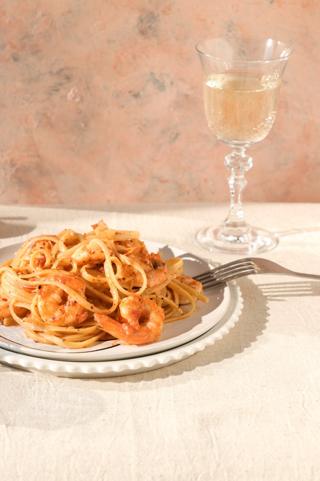 Close up of Prawn Oil Linguini