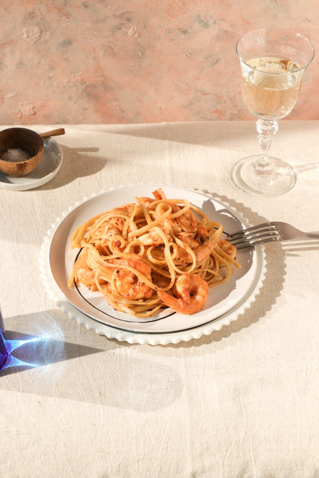 Prawn Oil Linguini with white wine